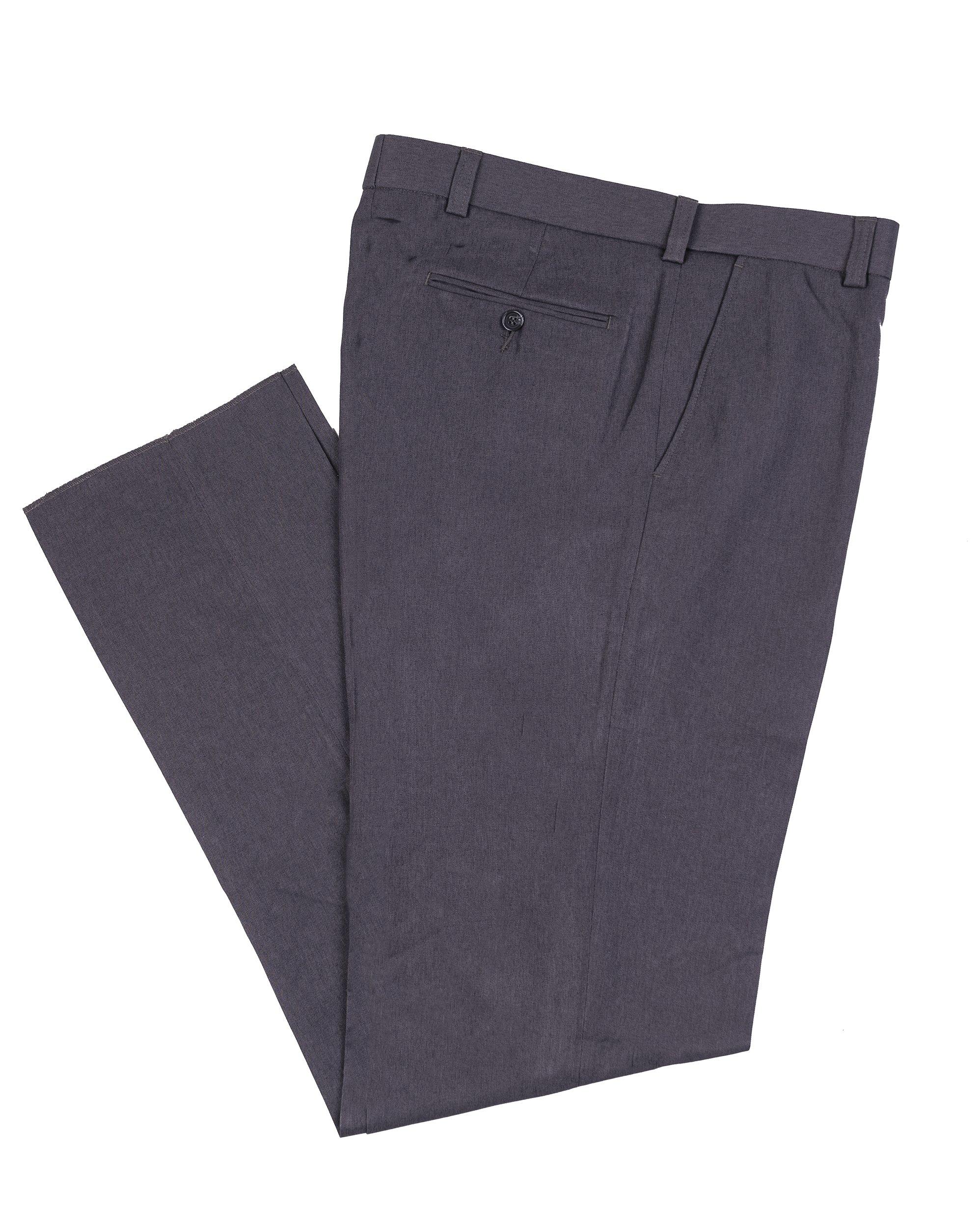 J Braxx Mens Expandable Waist Wrinkle Resistant Washable Dress Pant, Flat Front Grey 46