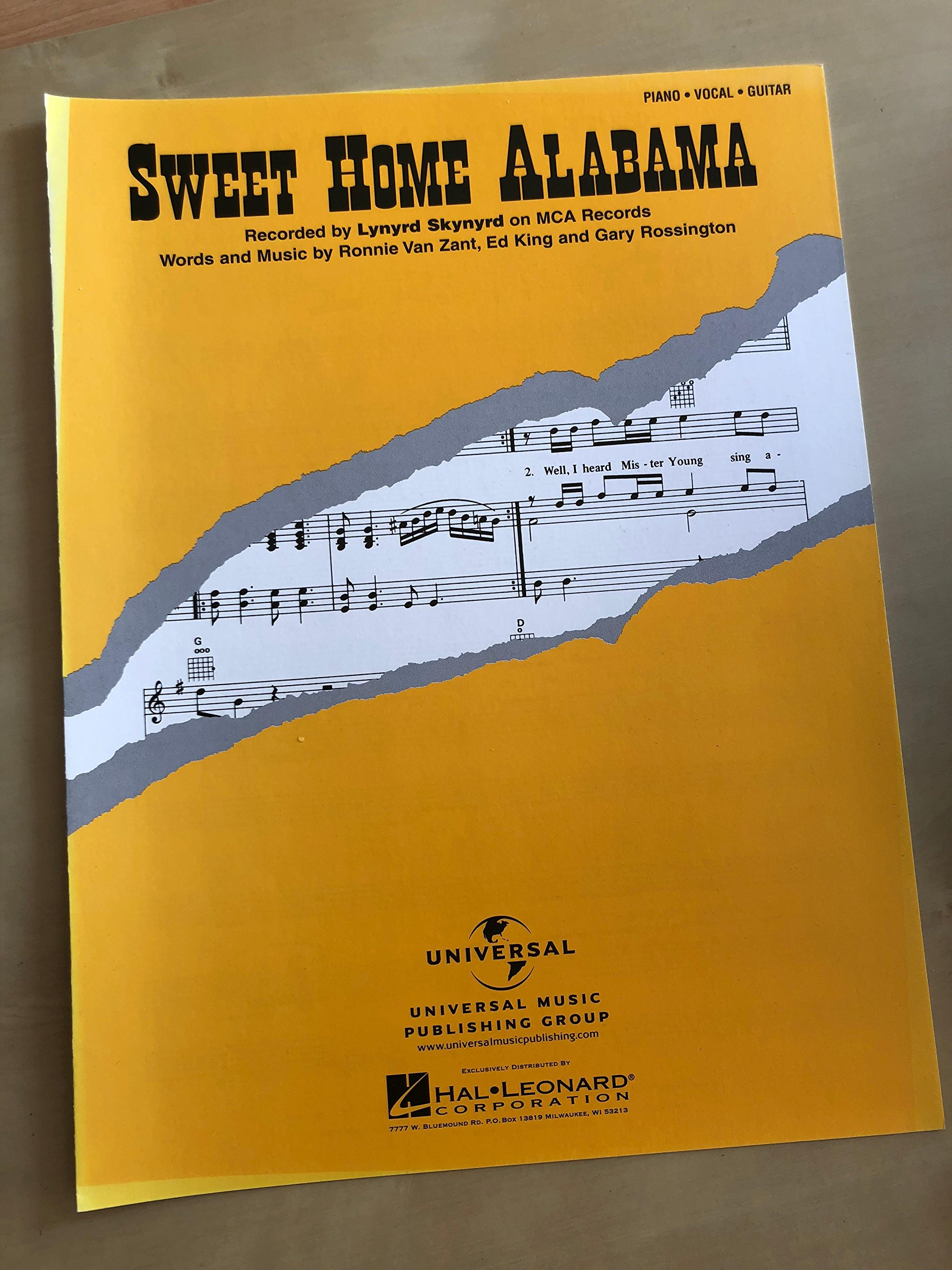 Sweet Home Alabama Piano Vocal Sheet Music 0073999220919