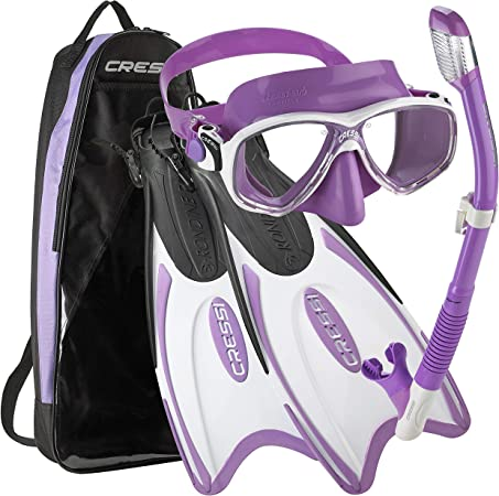 Cressi Italian Design Colorama Collection Onda Tempered Glass Mask Purge Dry Top Snorkel Travel Friendly Mask Fin Snorkel Set Palau Long Self Adjustable Snorkeling Fin