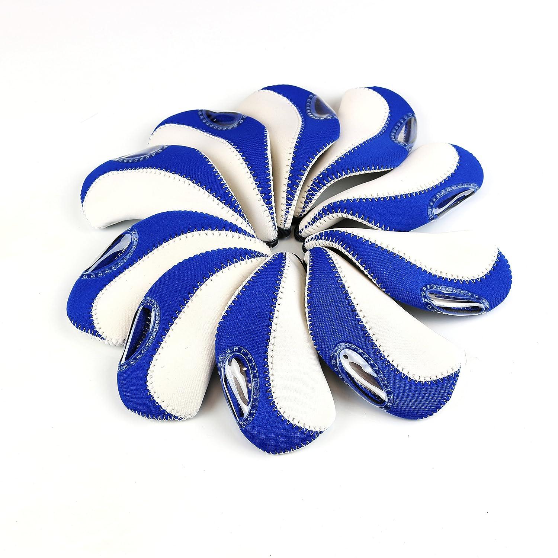 Elixirゴルフアイアンクラブヘッドcovers-setの10 B008XEGCSY ホワイト/ブルー ホワイト/ブルー