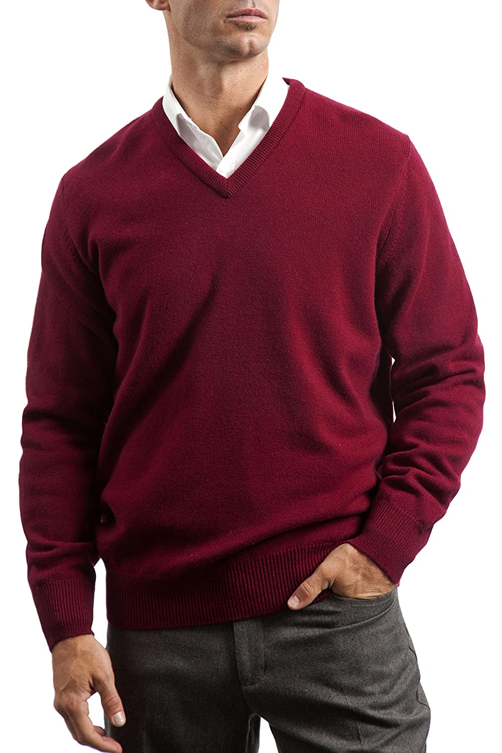 a5914a1a5 Great and British Knitwear Men s Lambswool Plain V Neck Sweater Made ...