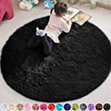 PAGISOFE 5x5 Area Rug Round Black Rug Circle Rugs for Kids Bedroom Fluffy Carpets and Shaggy Rugs Small Teepee Furry Mat Comf