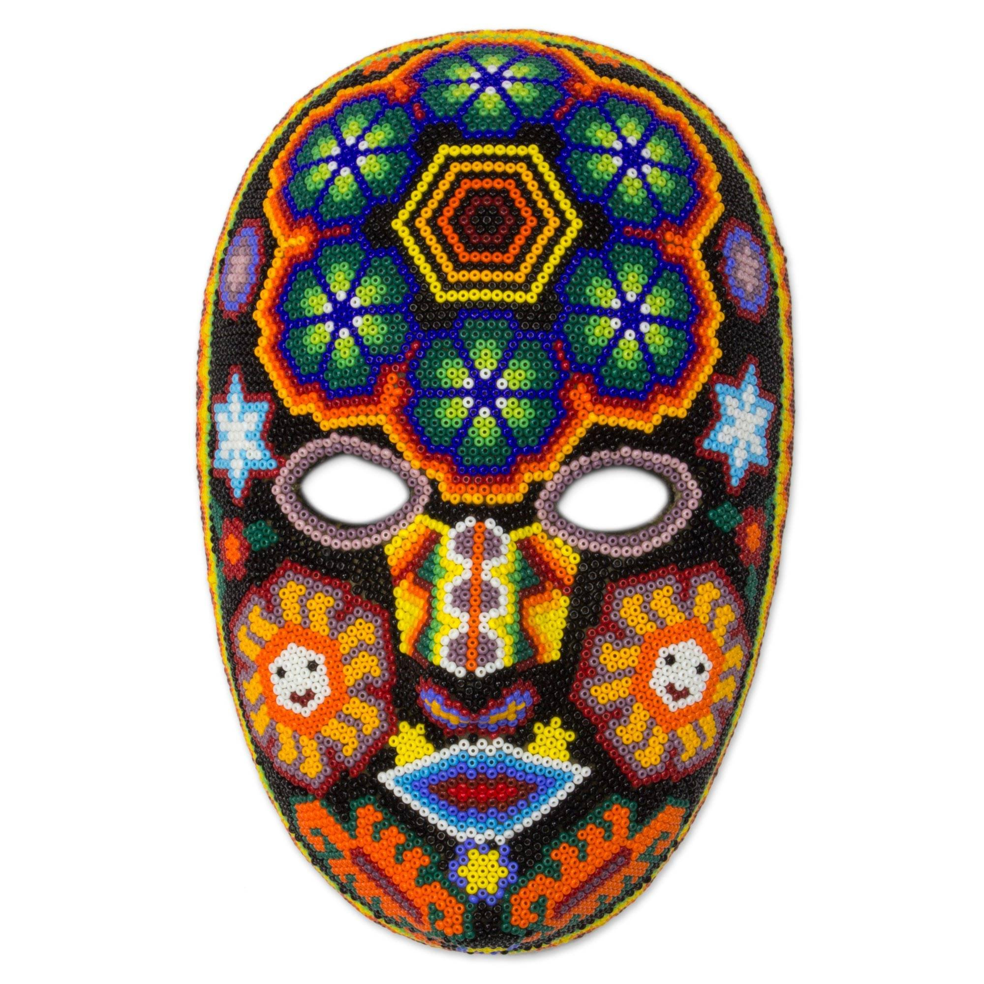 NOVICA Decorative Huichol Beaded Papier Mache Mask, Multicolor, Huichol Charm'