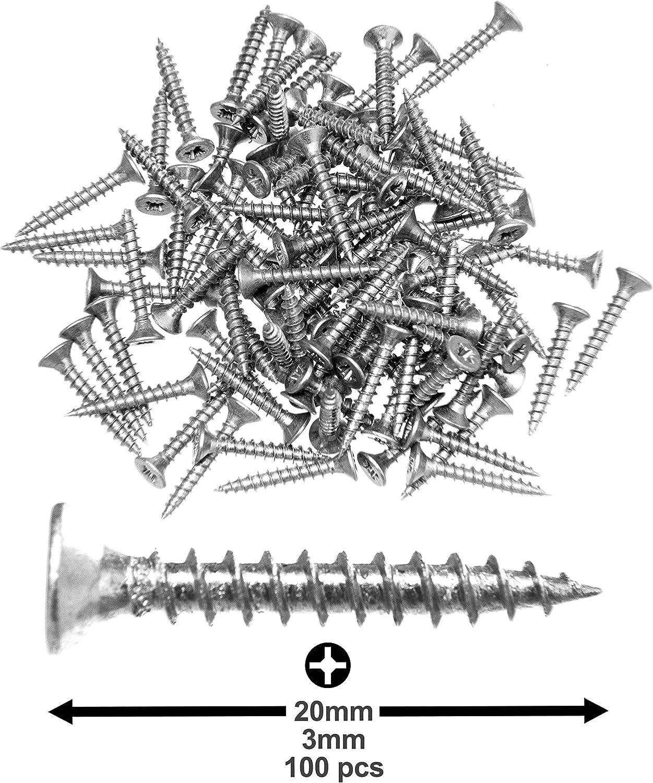 tornillos de cabeza Pozi-Drive tornillos de aglomerado Lote de 100 tornillos para madera de acero galvanizado de 3,0 x 20 mm fijadores 100 unidades avellanados