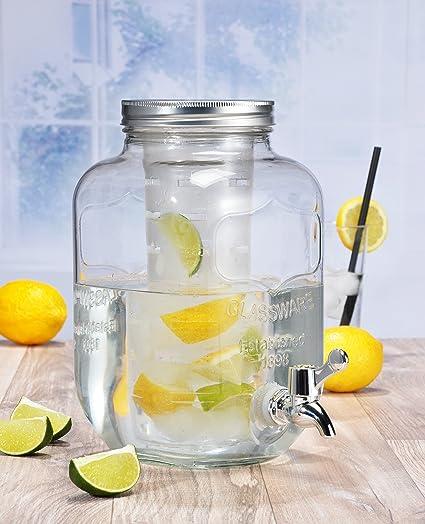 Dispensador de bebidas de vidrio 4L con grifo
