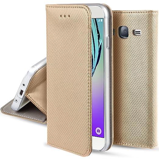 43 opinioni per Cover Samsung Galaxy J5 2016 Oro- Custodia a libro Flip Smart magnetica de