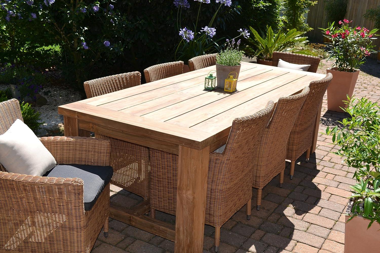 Teak Sitzgruppe Garten Garnitur Tisch (240x100) und 8 Sessel / Stühle Rattan und recyceltes Teak Java Kor