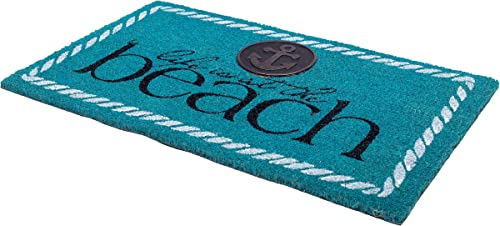 Fab Habitat Non-Slip Door Mats Hard Wearing Durability – 0.60 Thick 100 Biodegradable All-Natural Rubber Backing with Water Based Dye Indoor Covered Outdoor Use Life is at The Beach