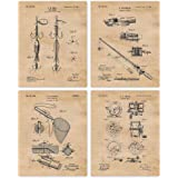 Vintage Fishing Patent Poster Prints, Set of 4 (8x10) Unframed Photos, Wall Art Decor Gifts Under 20 for Beach Lake Home, Off