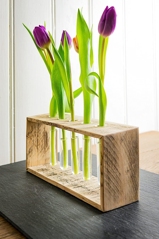 Vase/Blumenvase aus Altholz Holz von Obstkiste mit 5x Reagenzglas, Handgefertigt, Unikate, Vintage, Shabby-Chic
