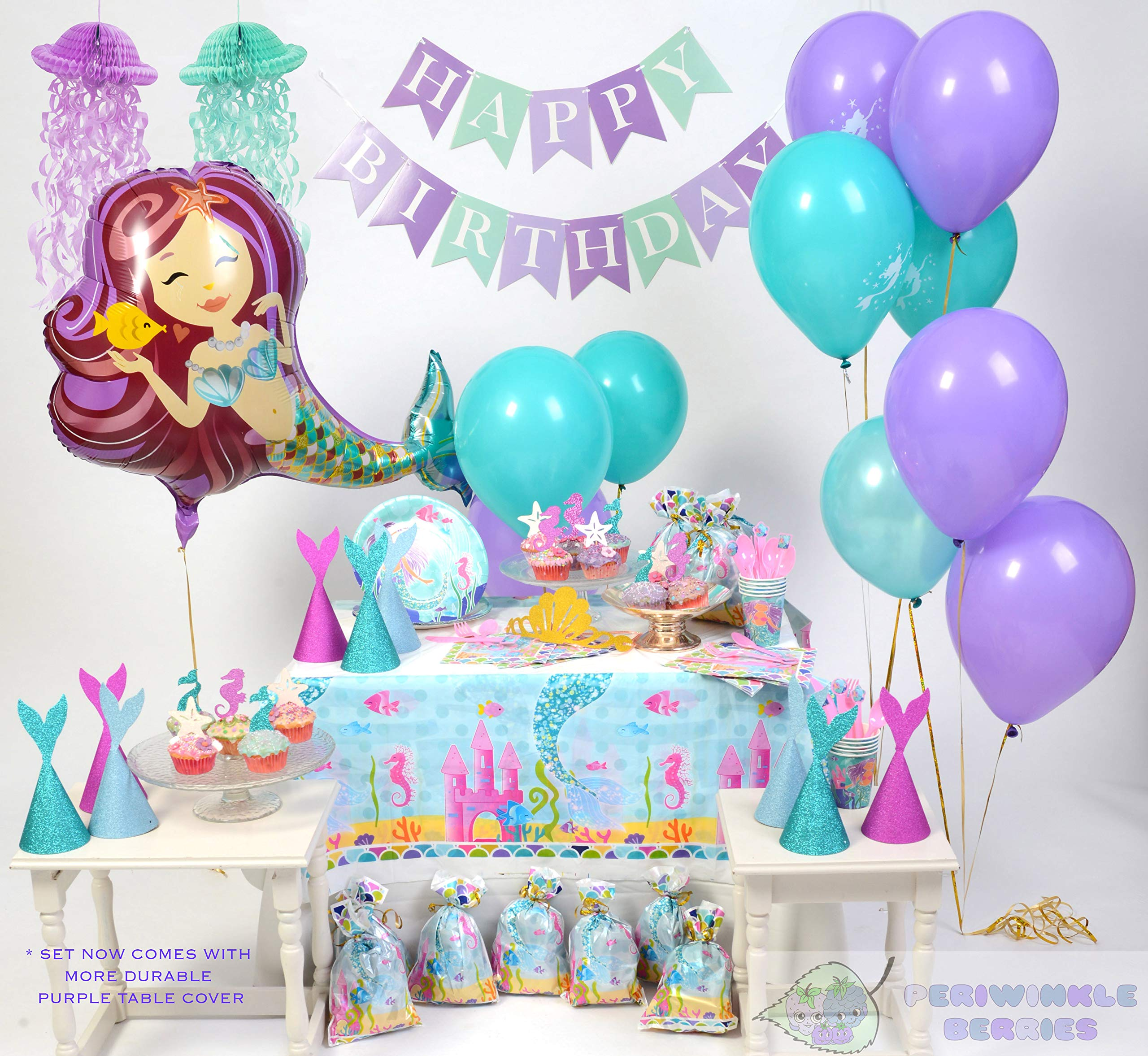 Mermaid Party Supplies - Complete Tableware and Decoration Deluxe Set - Plates, Cups, Utensils, Napkins, Table Cloth, Balloons, Happy Birthday Banner, Cupcake Topper, Favor Bags, Mermaid Hats & Crown by Periwinkle Berries (Image #3)