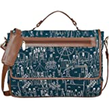 """Funk For Hire Printed Flap Closure Petrol Blue Cotton Canvas & Faux Leather Laptop Sling Bag For Women - Fit Up To 15.6"""" Size"""