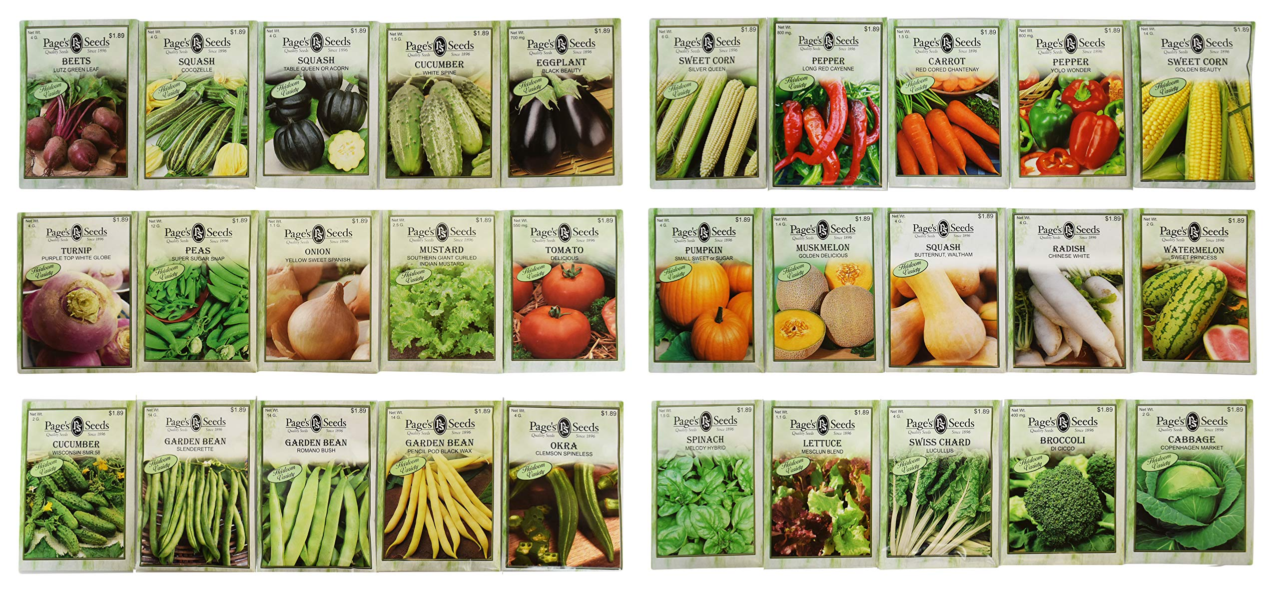 Set of 30 Deluxe Vegetable Garden Seeds! All Seeds are Heirloom, 100% Non-GMO!