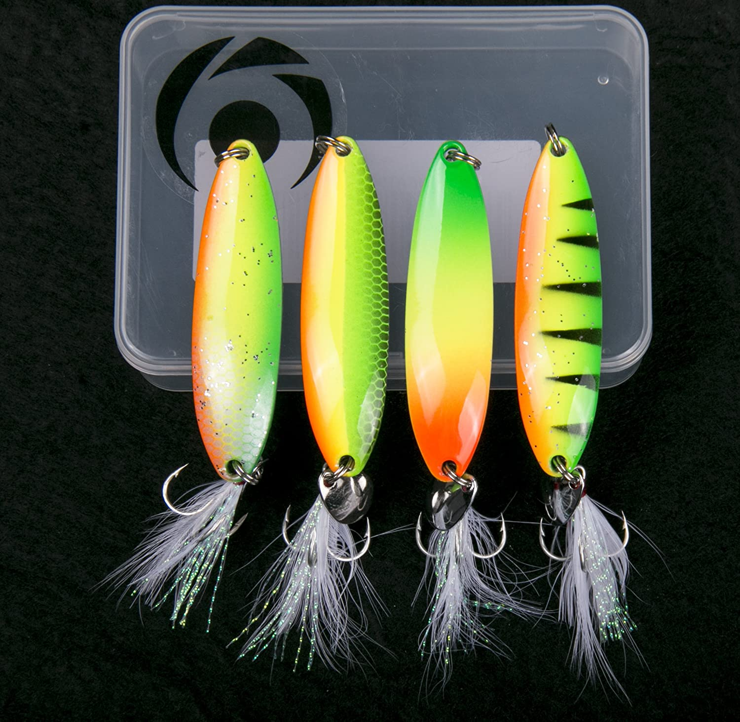 Rainbow 4 Packs Fishing Lures Metal Fishing Spoons Saltwater Hard Spinners Casting Sinking Lures for Northern Pike Salmon Walleye and Bass Fishing