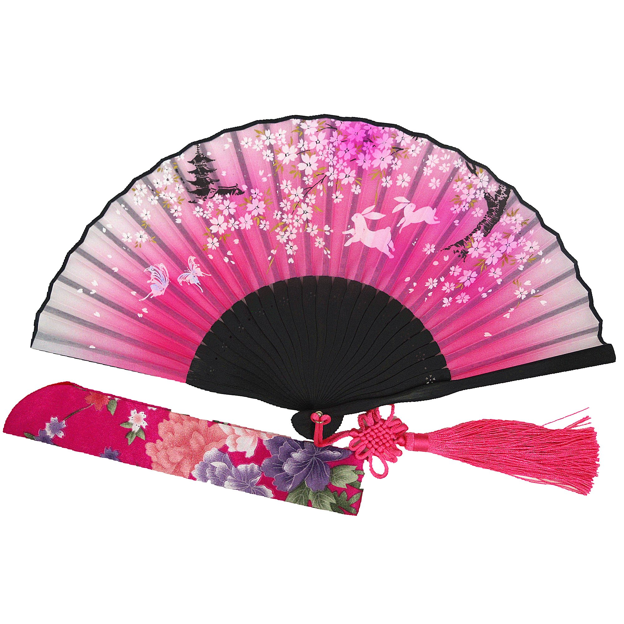 Wise Bird Charming Elegant Modern Woman Handmade Bamboo Silk 8'' Folding Pocket Purse Hand Fan, Collapsible Transparent Holding Painted Fan with Silk Pouches/ Wrapping. Beautiful Fashion Accessory for Wedding, Bride Maids, Party, Cosplay, Business Gifts, T