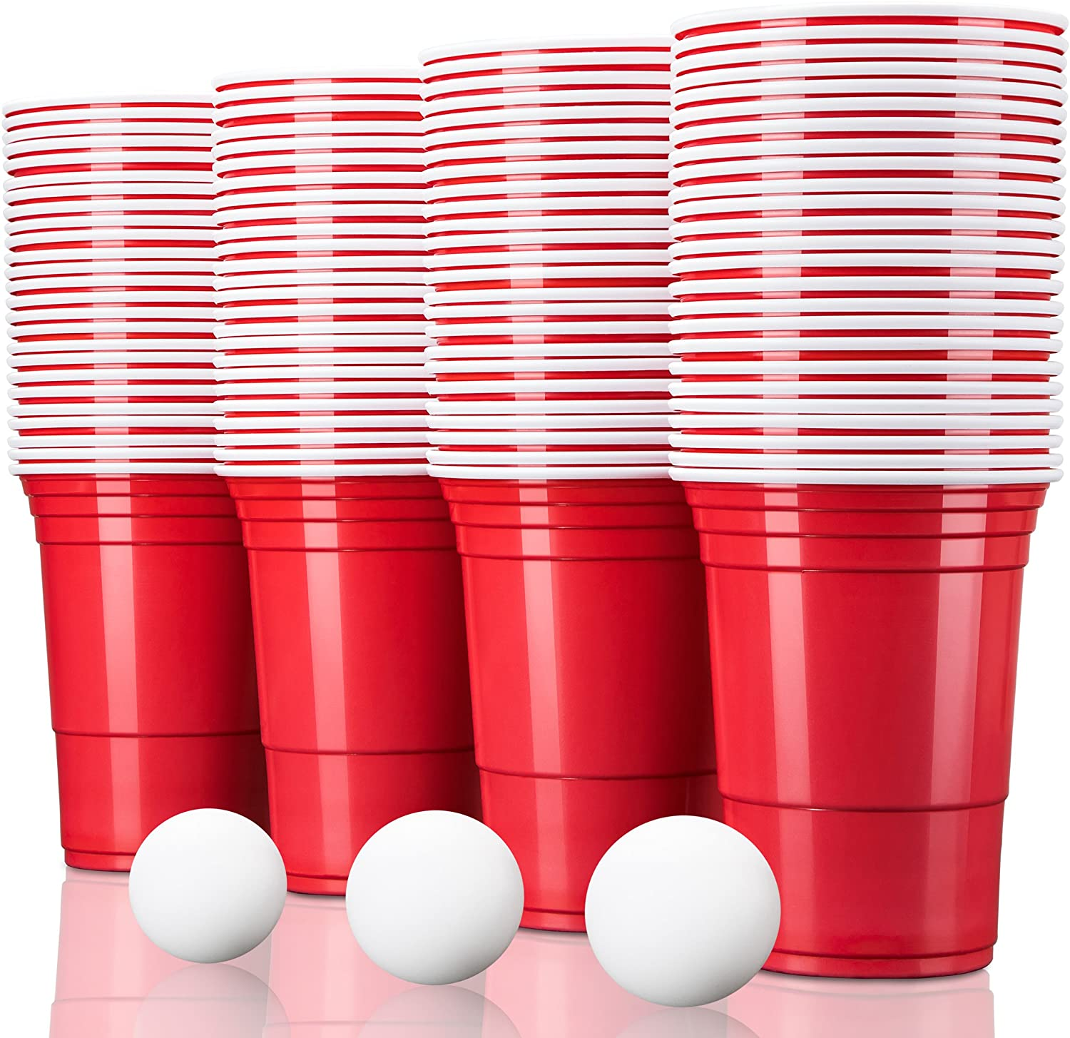 50 Pack with 6 Balls Extra Strong Quality for Softdrinks Beer Cola Cocktails Beer Pong TRESKO/® Red American Party Cups Drinking Cups Capacity 473 ml