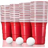 TRESKO Rote Partybecher 100 Stück   Beer Pong Party Cups   473 ml (16 oz)   Bierpong Becher extra stark   Kunststoffbecher Plastikbecher Camping