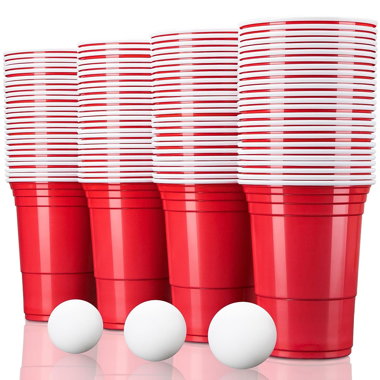 TRESKO® Vaso para Fiestas Vaso de plástico, Vaso de plástico para Bebidas, para refrescos Cerveza Cola cócteles Cerveza botellón Beer Pong, Rojo, 473 ml de Capacidad (100 Pcs)