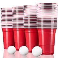 TRESKO Rote Partybecher 50 oder 100 Stück | Beer Pong Party Cups | 473 ml (16 oz) | Bierpong Becher extra stark | Kunststoffbecher Plastikbecher Camping