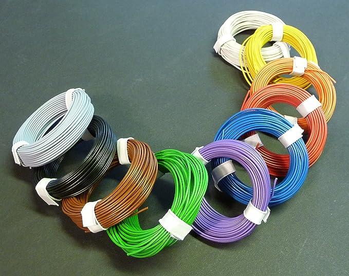 10 Farben Litzen Kupfer Kabel 0 14mm 1 Adrig Länge 10 X 10 Meter Spielzeug