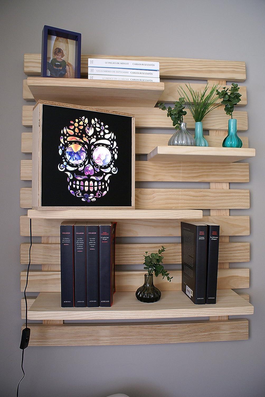 LIZA LINE Dekoratives Holz Wandregal, Bücherregal, Buch Regal, Regal-System mit 4 freihängenden Regalbrettern. Massive Nordisches Holz - 101x80x21cm (Naturholz)
