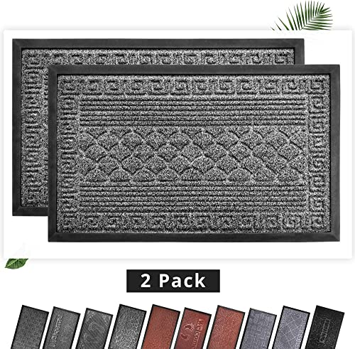 EZHOMEE Outdoor Rubber Welcome Door Mat 29.5 x17.7 , Durable and Non-Slip, Heavy Duty, Entry Floor Mats for Front Door, Entrance, Patio, Porch, High Traffic Areas for Dog Paw, Gray Scale, 2 Pack