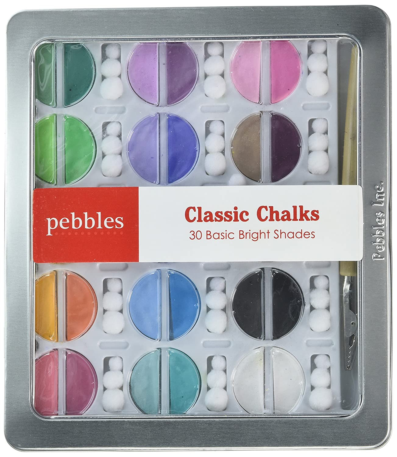  Basic Brights Classic Chalk Set by Pebbles Inc In Network IKCHLK-42001 and reusable pom-poms Notions Includes 30 chalks in various colors applicator tool