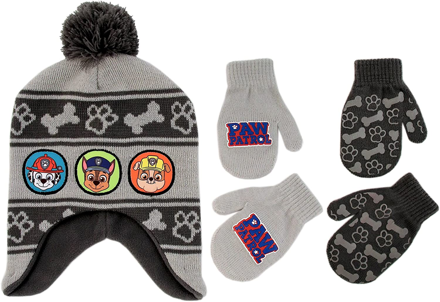 Nickelodeon Little Boys Paw Patrol Character Hat and 2 Pairs of Mittens or Gloves Cold Weather Set Age 2-7