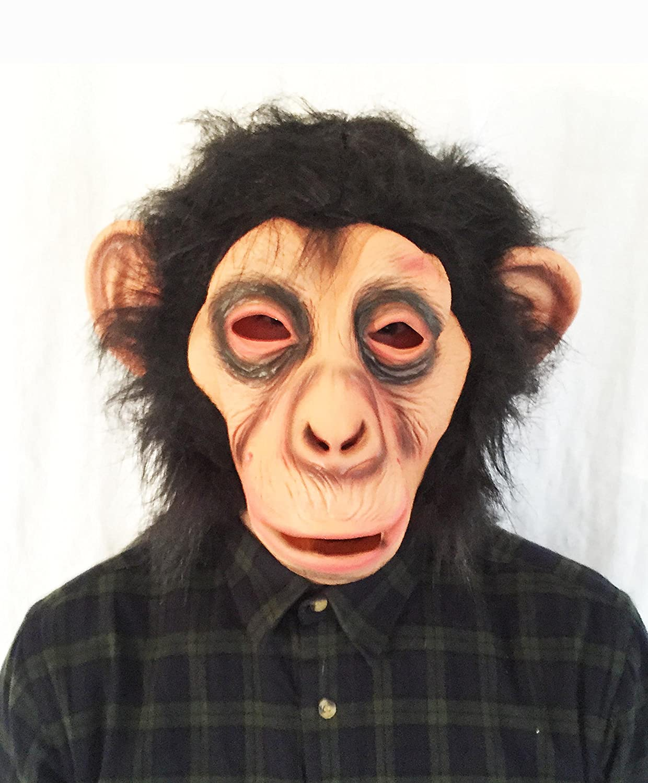 Chimp Full Head Latex Mask Fancy Dress Halloween Ape Monkey Animal ...