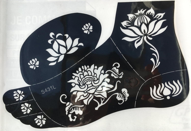 Tattoo Plantilla Plantilla Flores Designs s431l pie para cuerpo y Izquierdo para Henna Glitter aerógrafo Tattoo Adecuado Beyond
