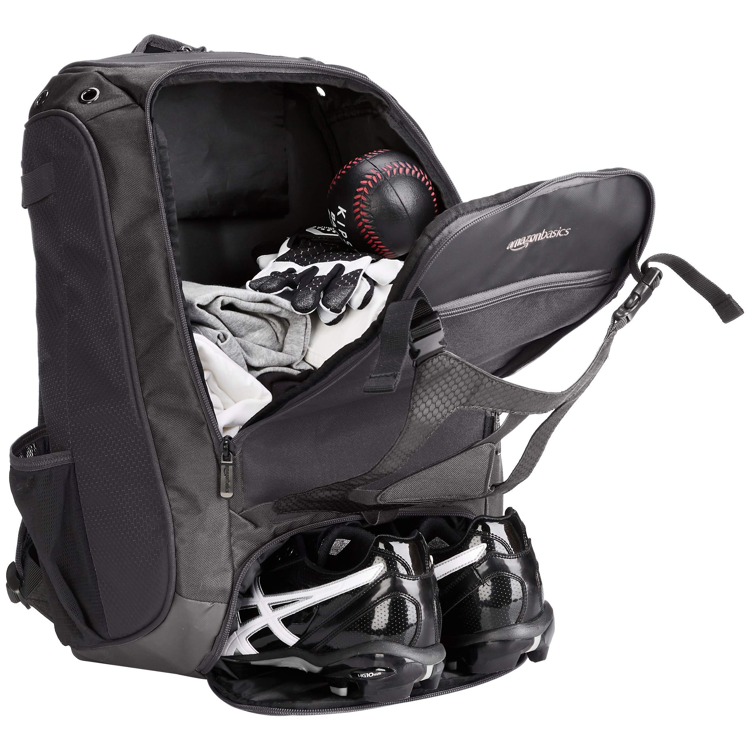 AmazonBasics Youth Baseball Equipment Backpack, Black by AmazonBasics (Image #4)
