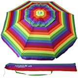 Ammsun 6.5 ft Sand Anchor Outdoor Patio Beach Umbrella Sun Shelter with Tilt and Carry Bag Multicolor Red