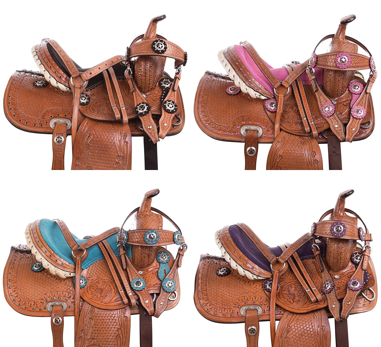 ユース子供クリスタルレザー手彫りWestern Pleasure Trail ShowロデオKids Pony HorseサドルTackパッケージBridle Breastplate Pony Barsサイズ10 12 13 12 ブルー B01MG5IT82