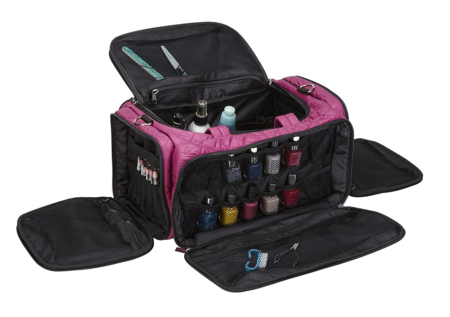 Seya Beauty Ultimate Makeup Artist Nail Polish Travel Bag (Quilted Purple)