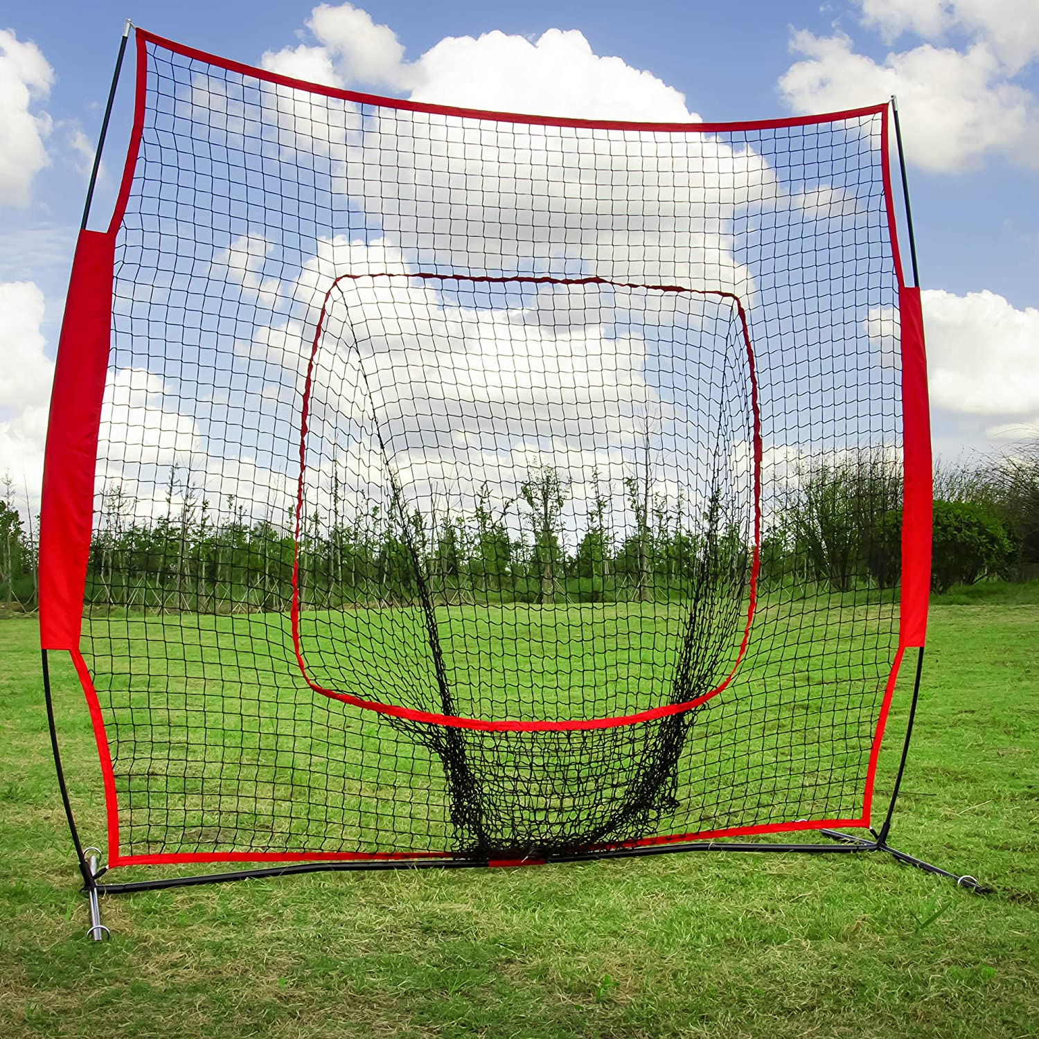 PORAY Collapsible Baseball Net Softball Net, Batting Fielding Practice 7 x 7 Large Mouth Outdoor Sports Net with Bow Net Frame Carry Bag