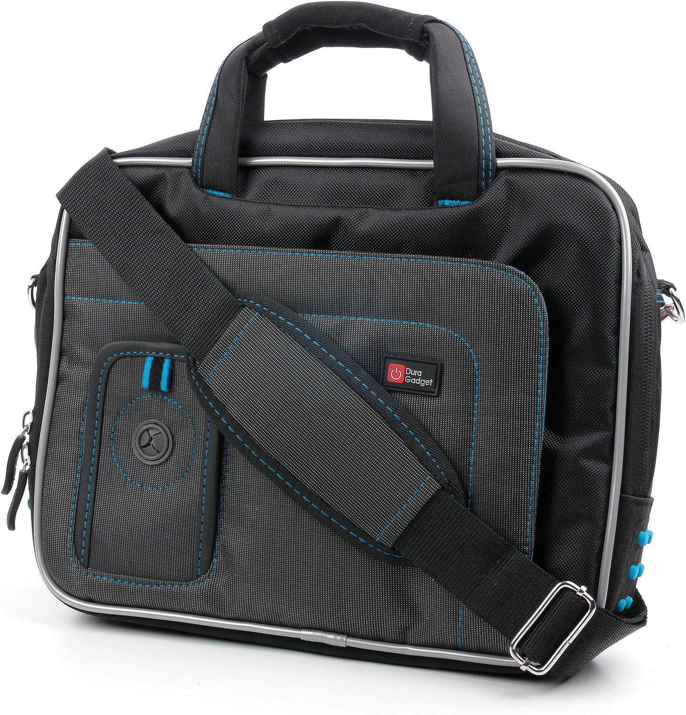 DURAGADGET Black & Blue Water Resistant Case w/Accessory Storage - Compatible with Vtech Dora The Explorer Laptop/InnoTab 2 Learning App Tablet/Challenger Kids Laptop & Progress Laptop
