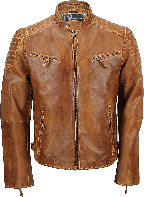 XPOSED Mens Real Soft Leather Slim Fit Black Tan Brown Urban Retro Zip Smart Casual Biker Jacket