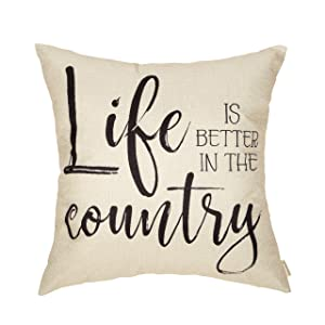 Fahrendom Farmhouse Home Décor Life is Better in The Country Decorative Throw Pillow Cover Vintage Living Style Family House Quote Sign Decoration Cotton Linen Cushion Case for Sofa Couch 18 x 18 in