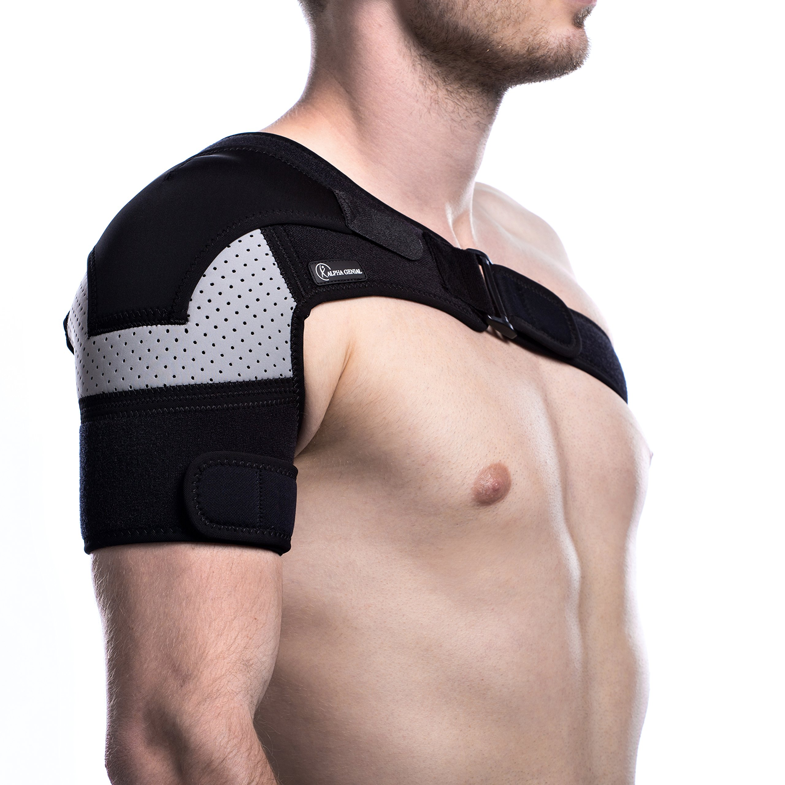 Shoulder Brace - Rotator Cuff Pain Relief Support for Men and Women, with Adjustable Belt and Sleeve, Pressure Pad for hot or ice Pack, for Injuries Like Dislocated AC Joint, Frozen Shoulder and More