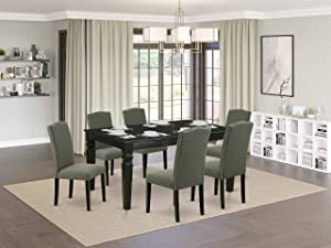 """7Pc Rectangular 42/60"""" Dinette Table With 18 In Leaf And 6 Parson Chair With Black Leg And Linen Fabric Dark Gotham Grey"""