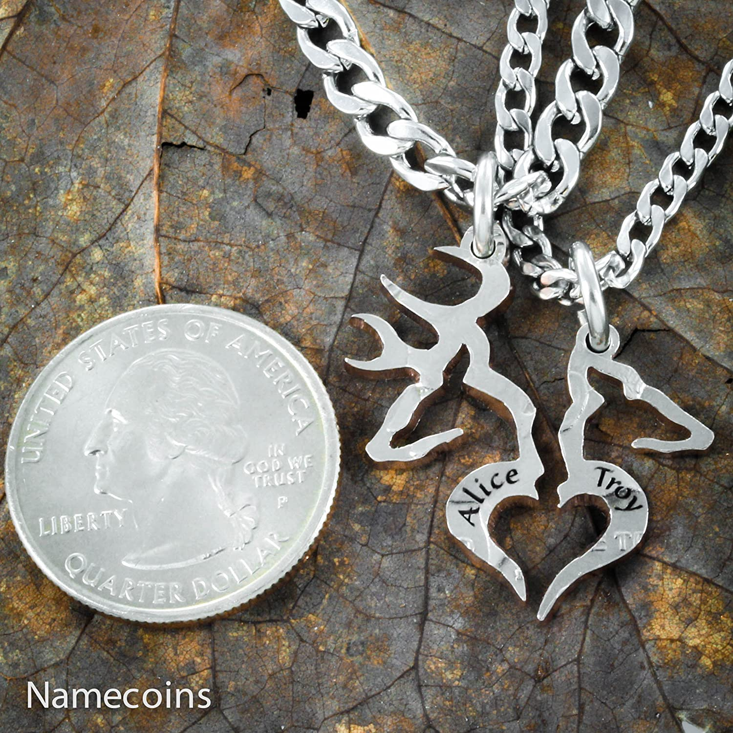 Amazon.com: Custom Names on Buck and Doe Country Couples necklace ...