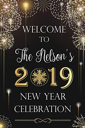 Amazon.com: New Year Holiday Party Sign, Fireworks, New Years Eve ...