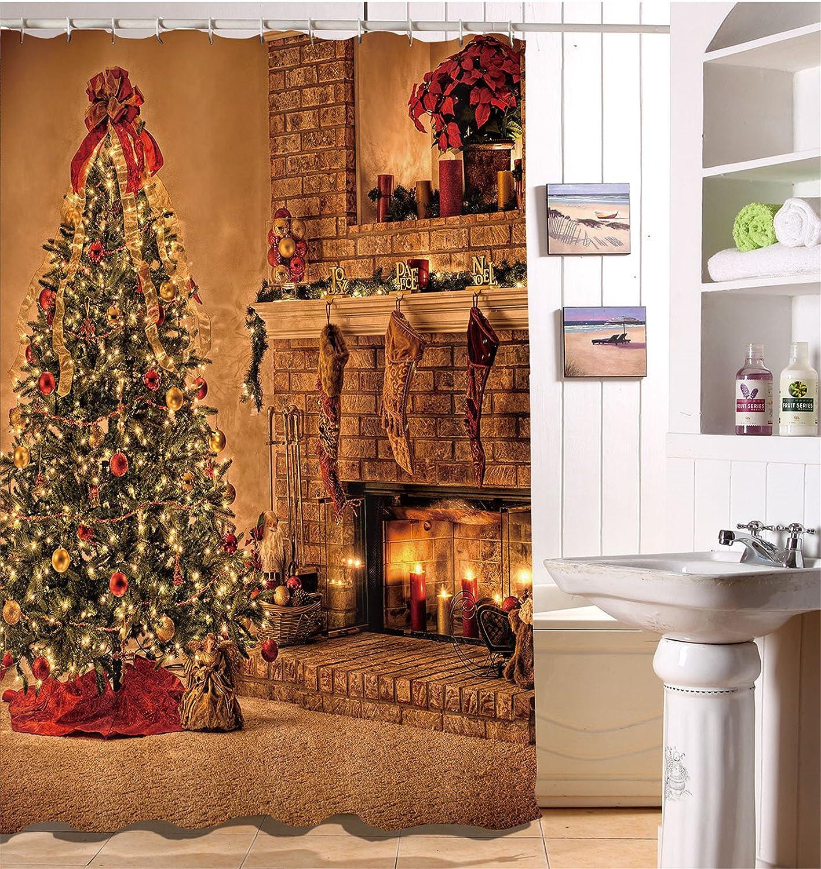 LB Frohe Weihnachten Duschvorhang Haus Dekor/Strümpfe,Weihnachtsbaum ...