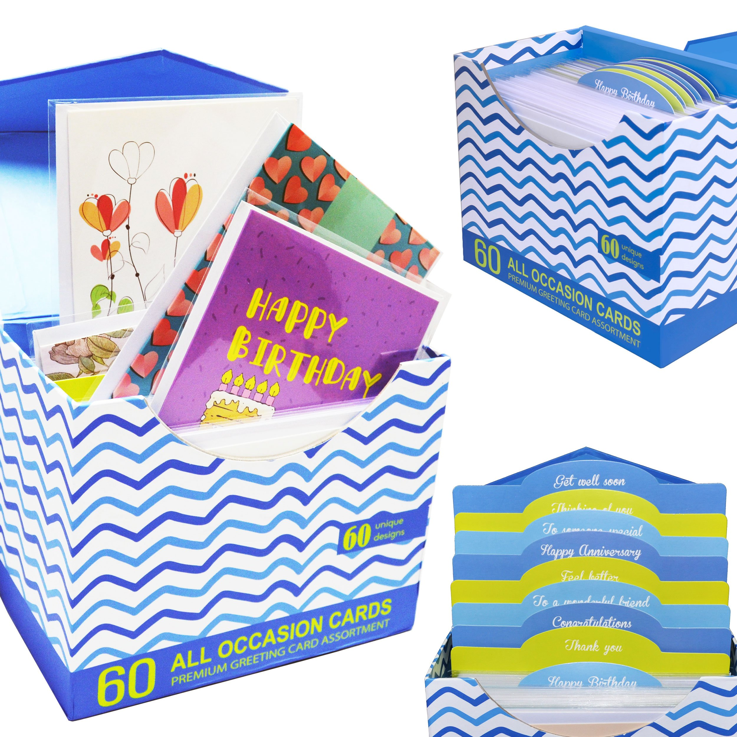 60 Pack Assorted All Occasion Greeting Cards With Magnetic Organizer
