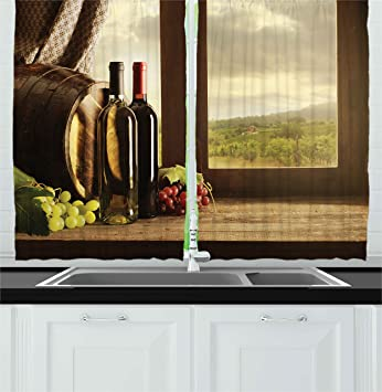 Ambesonne Winery Decor Collection, Dark Clouds Over Vineyard Rainy Weather  View from Window of Farmhouse Scenery, Window Treatments for Kitchen ...