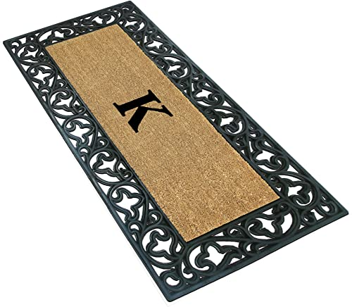 Nedia Home Acanthus Border with Rubber Coir Doormat, 24 by 57-Inch, Monogrammed K