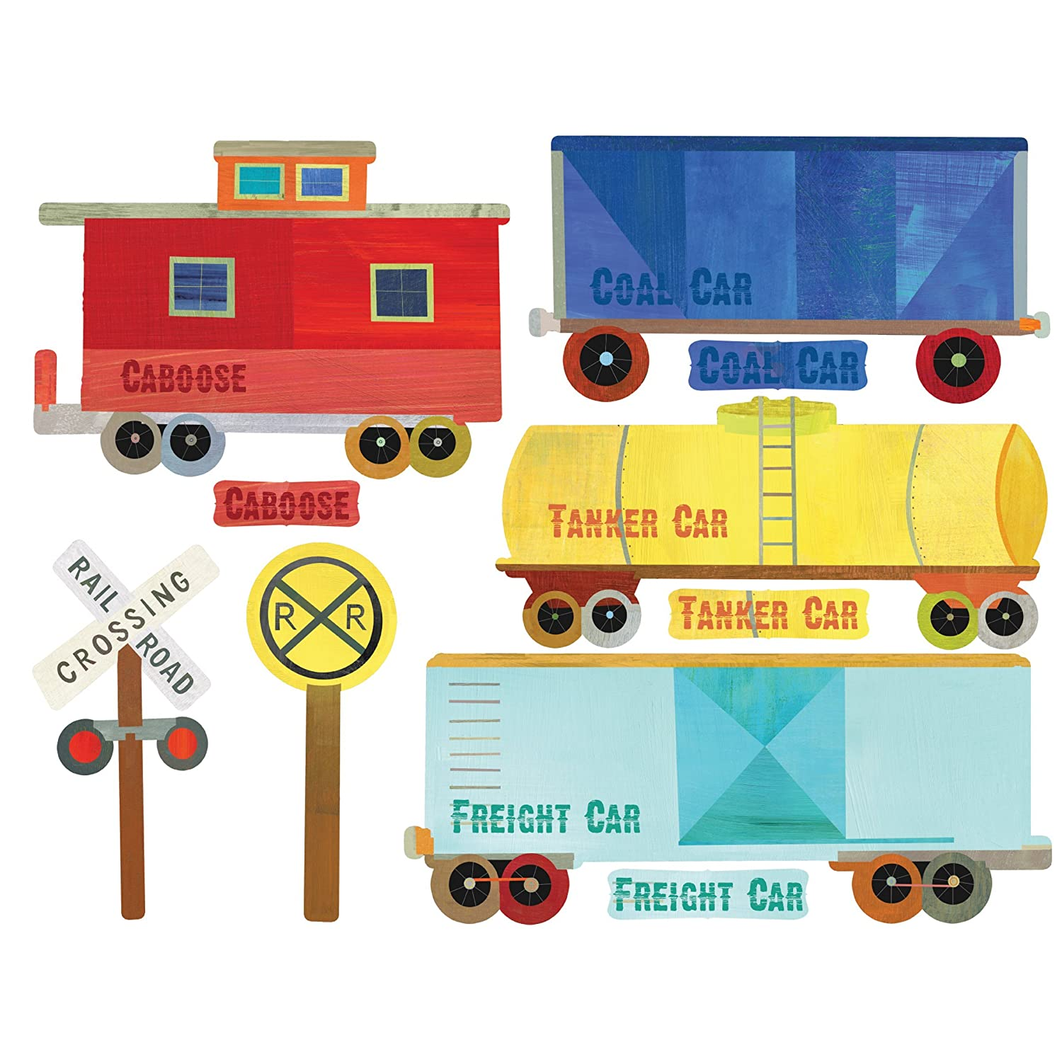 Wallies Peel & Stick Vinyl Wall Decals, Train Ride Wall Sticker, Includes 7 Trains And 9 Signs Decals Wallies Wallcoverings 13542