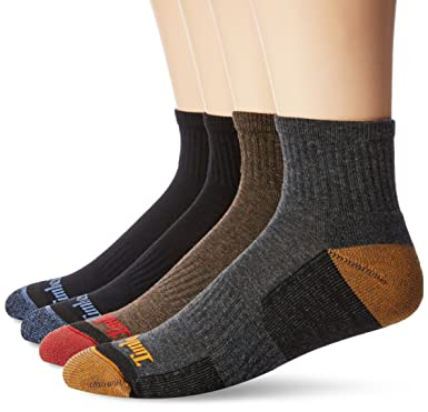 8ca2617457814 Timberland Men's 4 Pack Comfort Low Quarter Sock, Black/Blue/Brown/Charcoal