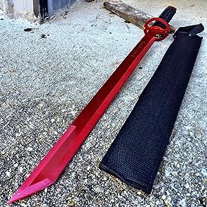 "NEW! 27"" Ninja Sword Machete RED Full Tang Tactical Blade Katana NEW w/Sheath"