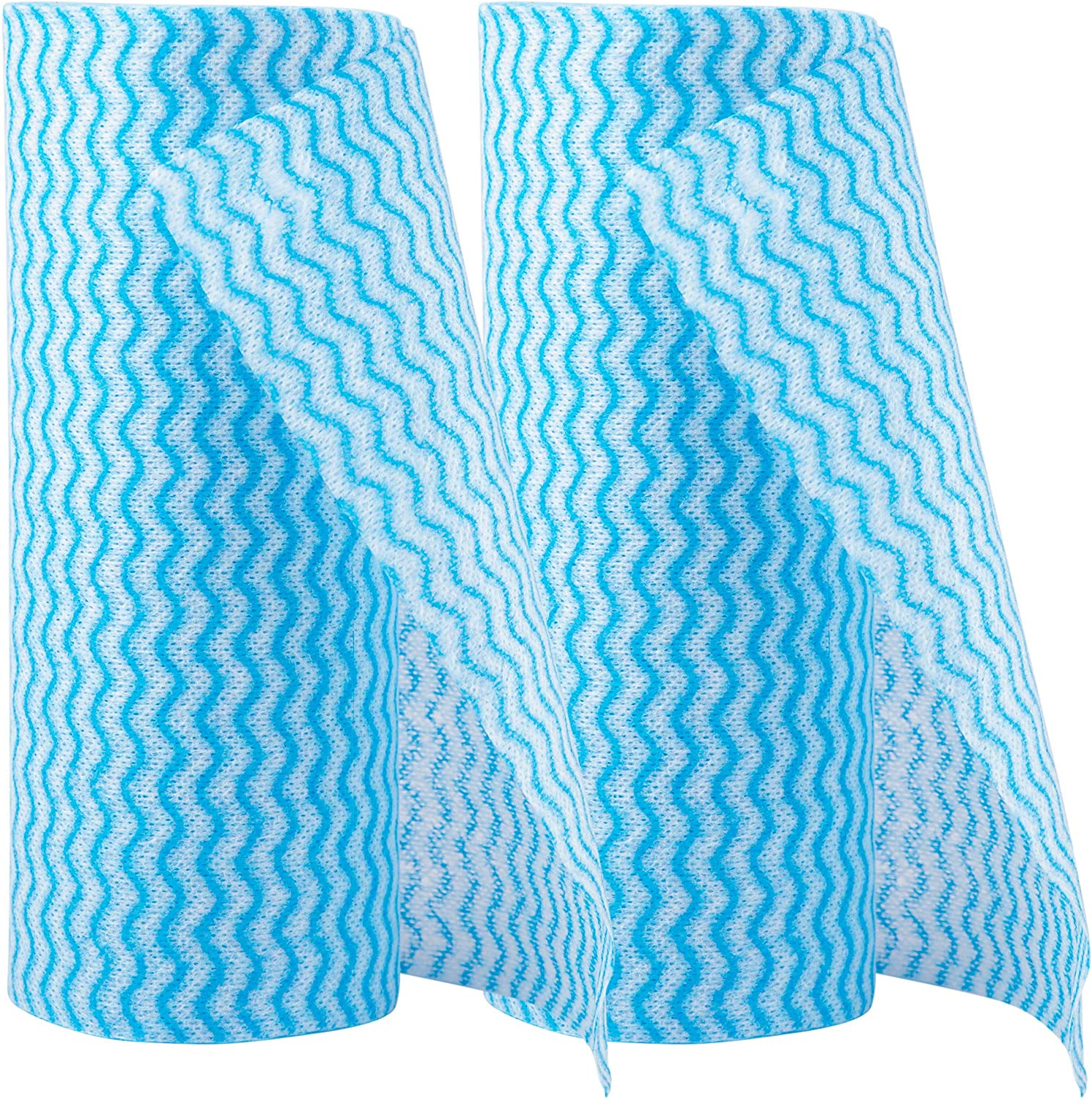 Reusable Cleaning Cloths, 2-Pack Reusable Cleaning Towels, 50-Piece Per Roll Reusable Kitchen Wipes for Cleaning, Blue